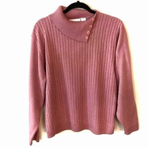 Mini Cable Sweater Pink Button Trim Size Large